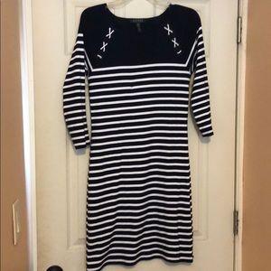 Size medium Ralph Lauren dress navy and white stri